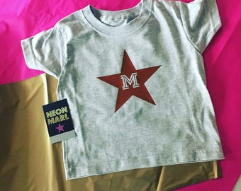 Personalised initial in a star T shirt