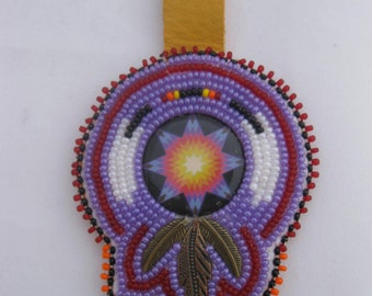 Beaded Feather Keychain Original Native American Beadwork