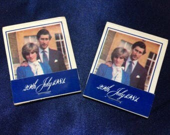 Matchbook Princess Di Diana and Prince Charles Celebrating Wedding 1981 Vintage, Matchbook Royal Wedding 1981 Diana & Charles unstruck, Rare