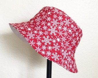 Christmas Snowflakes Holiday Bucket Style Sun Hat for Babies and Kids!