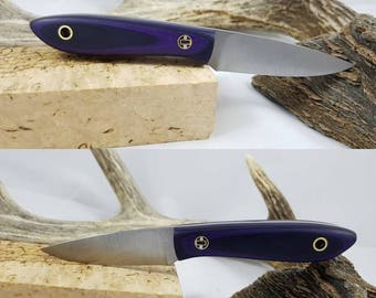 "3"" Bird and Trout knife, purple and black mycarta"