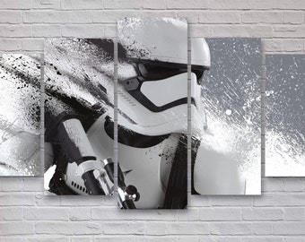 Storm Trooper - Star Wars 5 Panel / Piece Canvas  - Wall Art - Office - Bedroom Wall Art - Multi Panel - #029