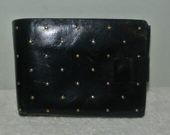 Vintage Princess Gardner Gahna Cowhide Gold Beaded Black Leather Bi-fold Wallet