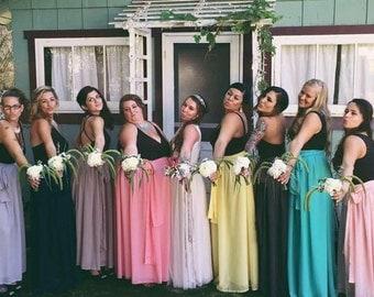 Chiffon maxi skirt, wedding skirt, bridesmaid skirt, flower girl skirt, chiffon skirt with belt,maxi skirt