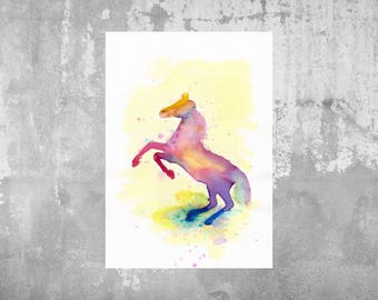 Print of an original watercolour drawing - Horse - bright colours