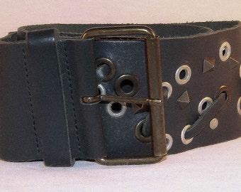 Studded leather belt