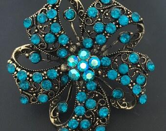 Massive Flower Ring Turquoise Multi Stone Ring