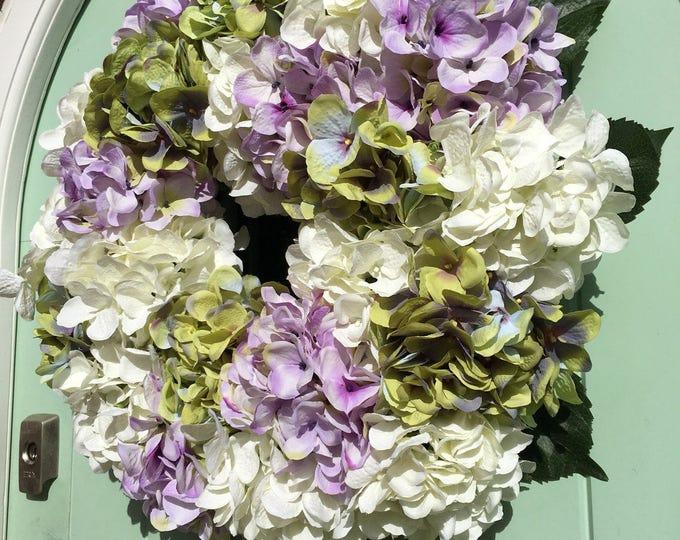 Gorgoeus white, green and lilac Hydrangea spring door wreath (Size Medium)