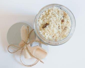 Goats Milk Bath Salts - Regenerate Refresh - Bath Salts - Dead Sea Salt, Organic Herbs & Essential Oils, Tea Bag, Hand Carved Wooden Scoop