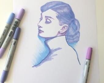 Original Purple Audrey Hepburn Inspired Illustration