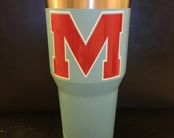 Ole Miss Rebels Block M decal on powder blue Ozark Trail tumbler  20 OZ & 30 OZ New Gameday Ready University of Mississippi