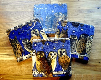 Set of Four Emma Bridgewater Styled Owls Lunch Natural Stone Coasters