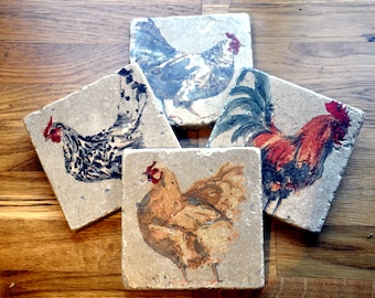 Set of Four Hen Natural Stone Coasters