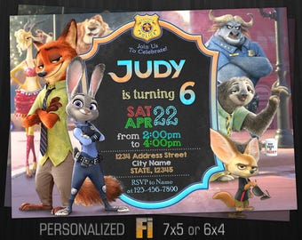 Zootopia Invitation, Zootopia Birthday Party, Bunny, Hare, Rabbit, Fox, Police, Animals, Predator, Personalized, Printable, Digital File