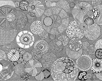 Black ink pen drawing - Moons - digital print of original ( 8.5 x 11 )
