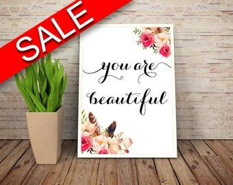 Wall Art You Are Beautiful Digital Print You Are Beautiful Poster Art You Are Beautiful Wall Art Print You Are Beautiful Typography Art You