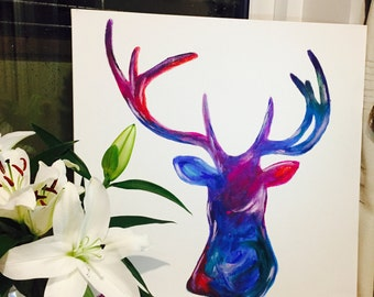 Handpainted Stag Head - Made to Order -Modern colourful - Arcylic on Canvas- Rustic Countryside Art - Modern Art