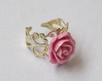 filigree pink rose ring
