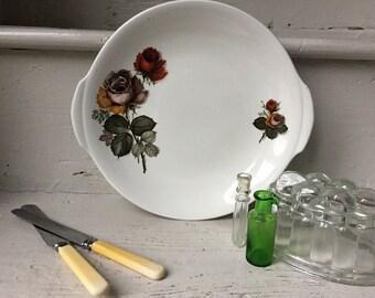 Vintage Cake plate, sandwich platter  rose pattern, Royal Tudorware