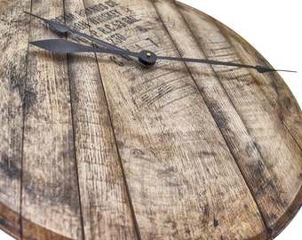 Authentic, Distiller Used Bourbon Whiskey Barrel Clock - Comes Ready to Hang with Barrel Head, Backing Board and Mounting Hardware
