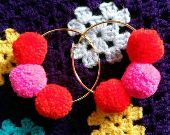 Pom Pom Hoop Earrings - Statement Earrings - Rainbow Ear Wear - Bright Hoops - Abstract Style - Red Pink Pompoms - Festival Accessories