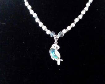 Mother of Pearl Owl Pendant Necklace
