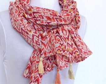 Scarf summer scarf, cotton, Ikat, print ethnic, Bohemian chic, red, pink, yellow, white