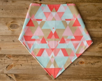 LULU-Reversible, Coral, Gold, White,  Mint Geometric, Plus Sign, Pastel, Metallic, Pet Accessory, Dog Bandanna, Tie-On  Dog Bandana