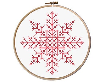 Snowflake Cross Stitch pattern, Christmas Cross Stitch, Easy Cross Stitch, Modern cross stitch pattern pdf