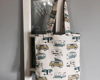 Retro campers tote bag, book bag, laptop bag