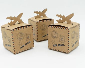 50pcs Air Mail Plane Kraft Candy Box Paper Bag Wedding Favour Box for Wedding Party Decoration Favors