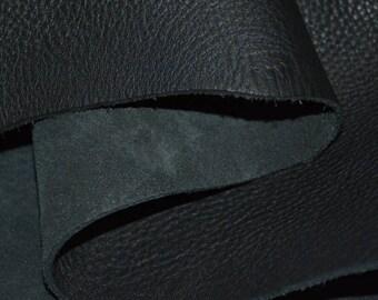 22x30cm GENUINE  Cow leather cowhide Plain DIY bag wallet material black color 1 piece