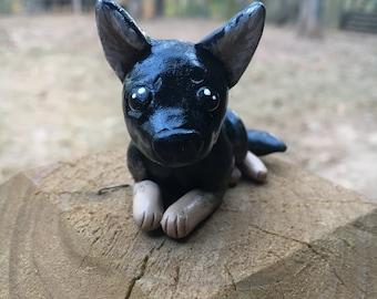 Handmade Mini Bi-color German Shepherd Sculpture
