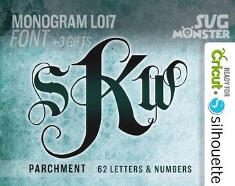 MONOGRAM LETTERS PARCHMENT svg Cut Files Electronic Vinyl Cutter Cricut cameo Silhouette Wedding 3 letters Font Ornate • 104