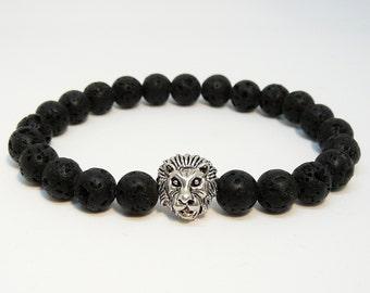 Lion bracelet for mens Black lava bracelet Lava Rock bracelet for Men bracelet  Lion jewelry mens beaded bracelet boyfriend gift for men