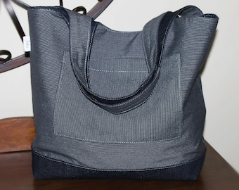 Denim Stripe Reversible Tote Bag