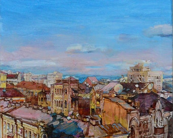Сity landscape,Modern painting, oil painting, Painted Cityscape, impressionist landscape, Street Scene, painted architecture Urban painting