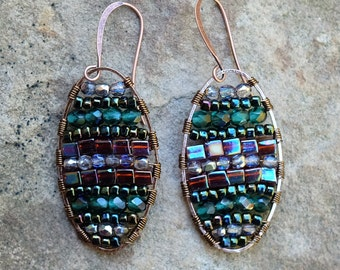 Wire Wrapped Earrings | Ocean