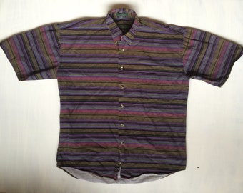 VTG striped button up Mens M