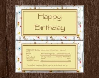 Happy Birthday Candy Bar Wrapper-Happy Birthday Chocolate Bar Wrapper-Candy Wrapper-Chocolate Wrapper-Flower Chocolate Bar Wrapper-Birthday