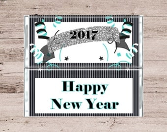 Black and White New Years Eve Party Favor-New Years Eve Chocolate Bar-New Years Eve Candy Bar-New Years Party Favor-Black, White and Teal