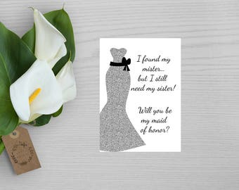 Simple Silver Maid of Honor Card-Will You Be My Maid of Honor Card-Silver and Black Maid of Honor Card-Will You Be My Bridesmaid Card