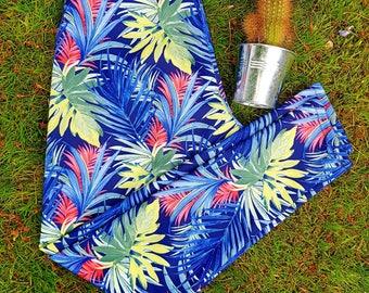 LILY Palm Leaf Leggings Navy, Size M Tropical Print, Tropical Leggings, Printed Leggings, Green Leggings, Blue Leggings, Hiking,
