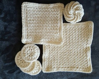 100% unbleached cotton handmade crochet  washcloths and scrubbies set