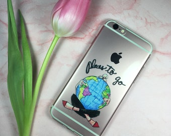 iphone 6/6s case. Traveling girl, love traveling, travelers gift,gift for her
