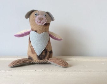 Small stuffed animal dog; hand-made stuffed animal made with recycled wool sweaters