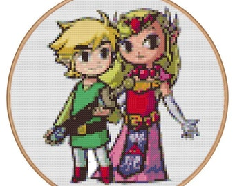 Link and Zelda The Wind Waker (Cross stitch embroidery pattern pdf)