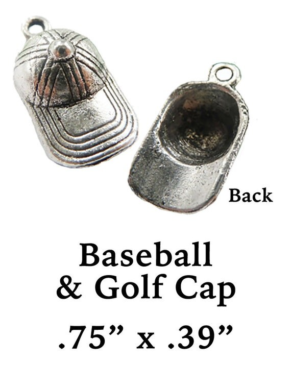 BASEBALL or GOLF CaP Charms, 6 pcs +Discounts & FREE Shipping*