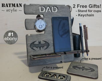 Personalized Gift, Docking Station, Gift Him, Father's Day, Charging Station, iphone dock, iphone stand, cell phone stand, desck organizer