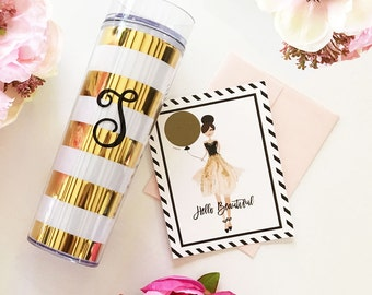 Monogram Gold Striped Tumbler - Personalized Gift, Monogram Tumbler